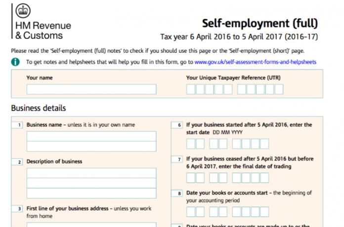 Self Assessment Tax Return Form