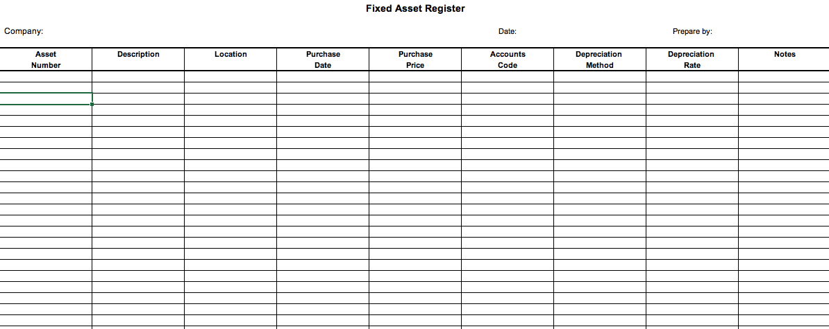 What Is A Fixed Asset Register Defintion And Free Excel Template