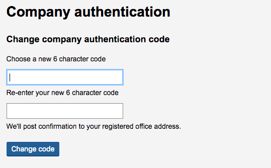 Change Company Authentication Code