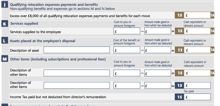 P11d Qualifying Relocation Expenses Section J