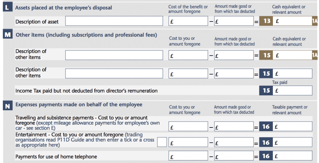 P11d Form Section L: Assets Placed at Employees Disposals