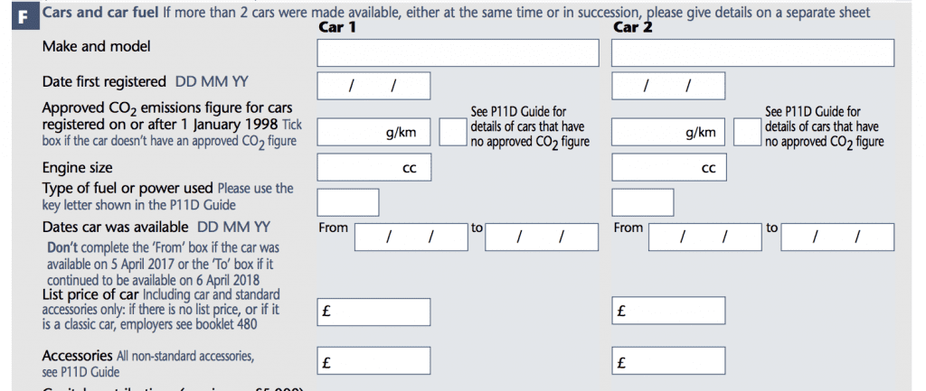 P11d Car Tax And Car Fuel Section F Go Self Employed
