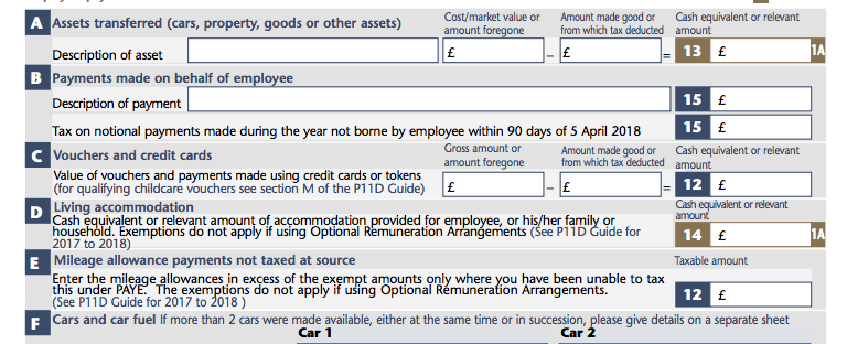 P11d Form: Section A Assets Transferred to Employees