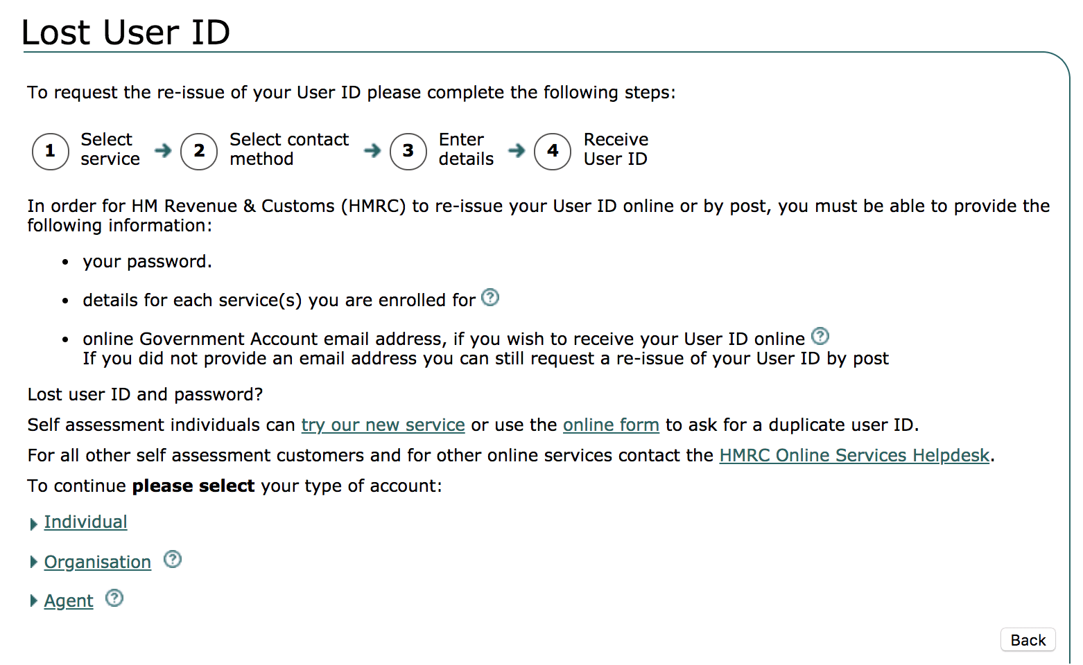 lost hmrc user id
