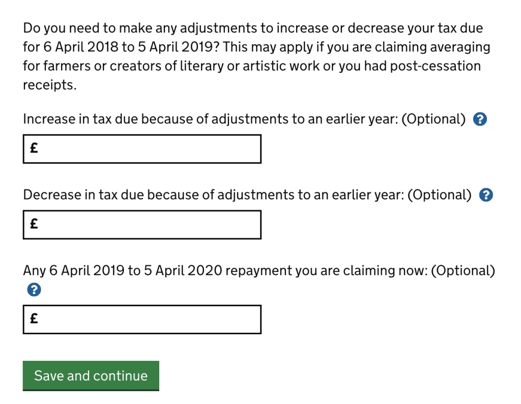 adjustments to tax due