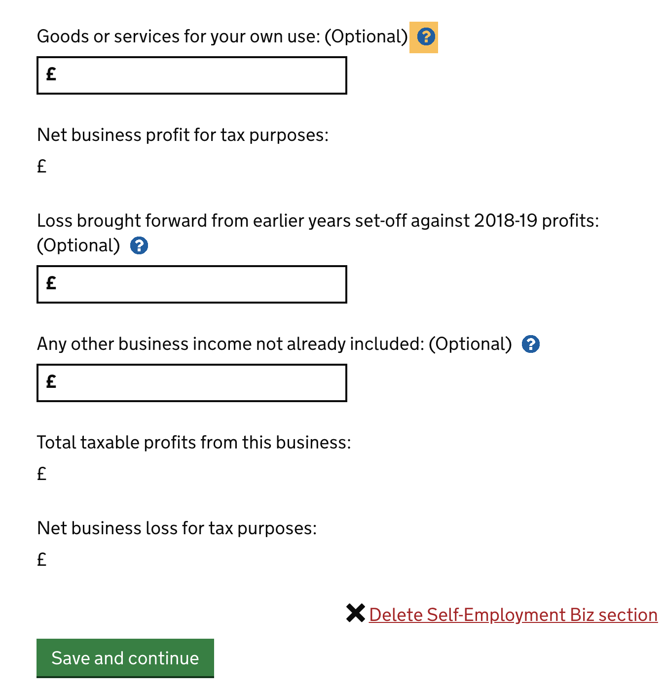 tax return self-employment section
