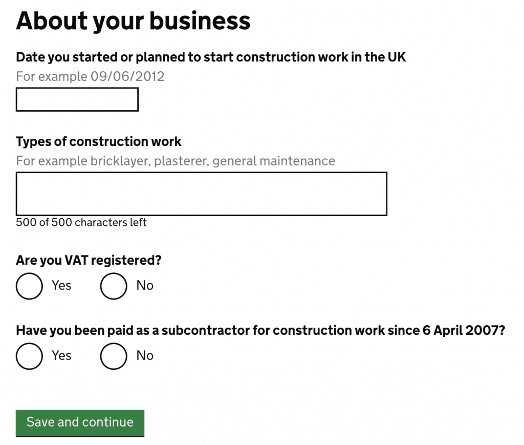 register as a CIS subcontractor business details