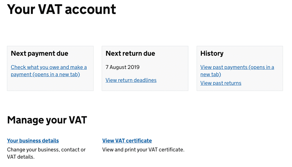 VAT account dashboard