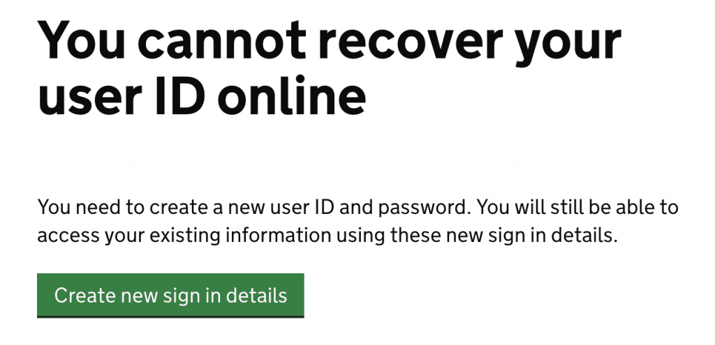 hmrc user id and password