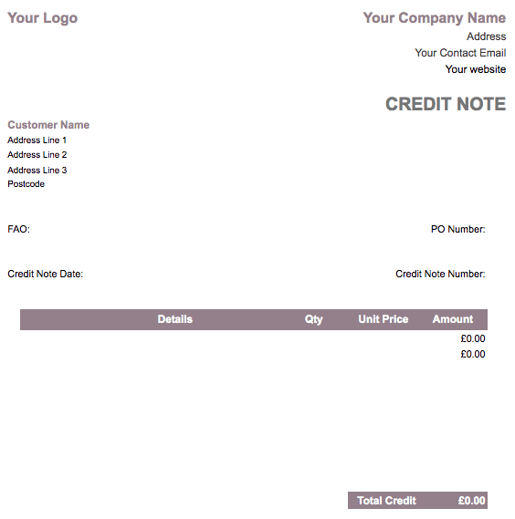 credit note template
