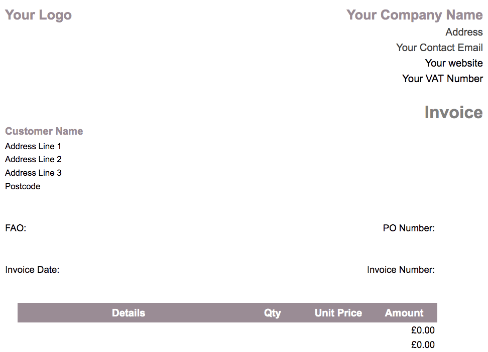 limited company invoice template