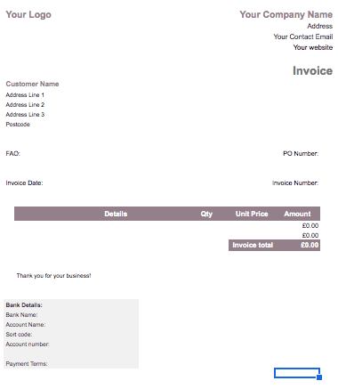 Self Employed Invoice Template Uk With Set Up Guide Free