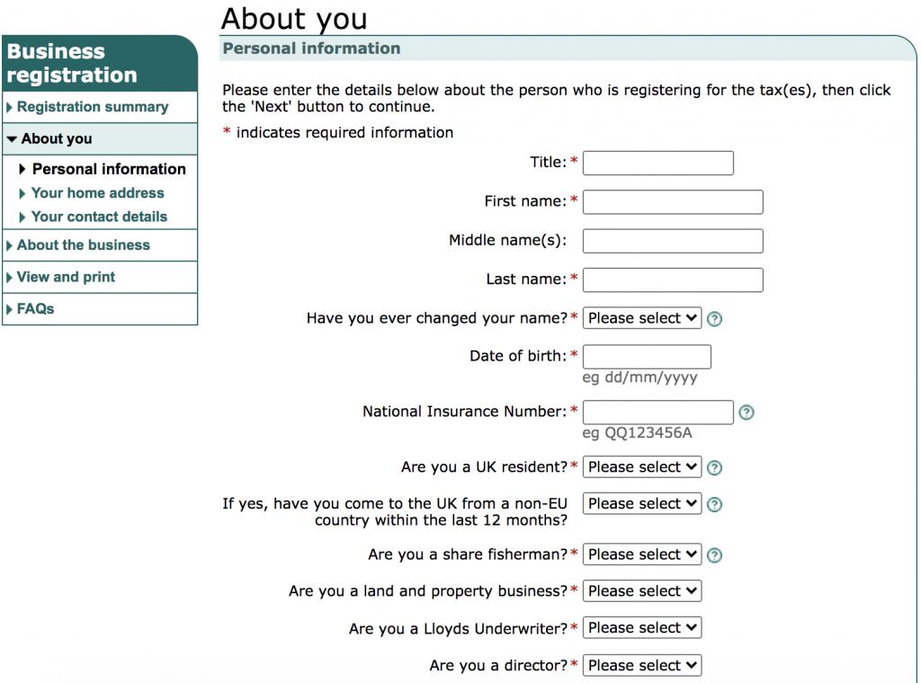 sole trader registration