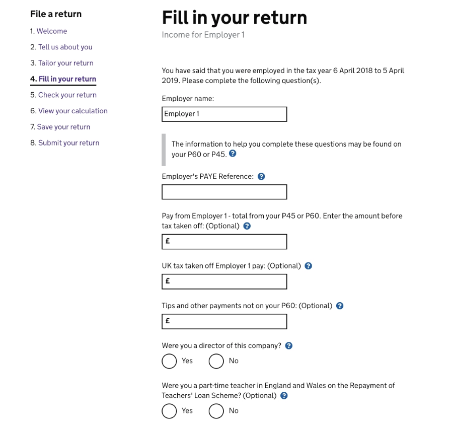 completing the employment page of the tax return
